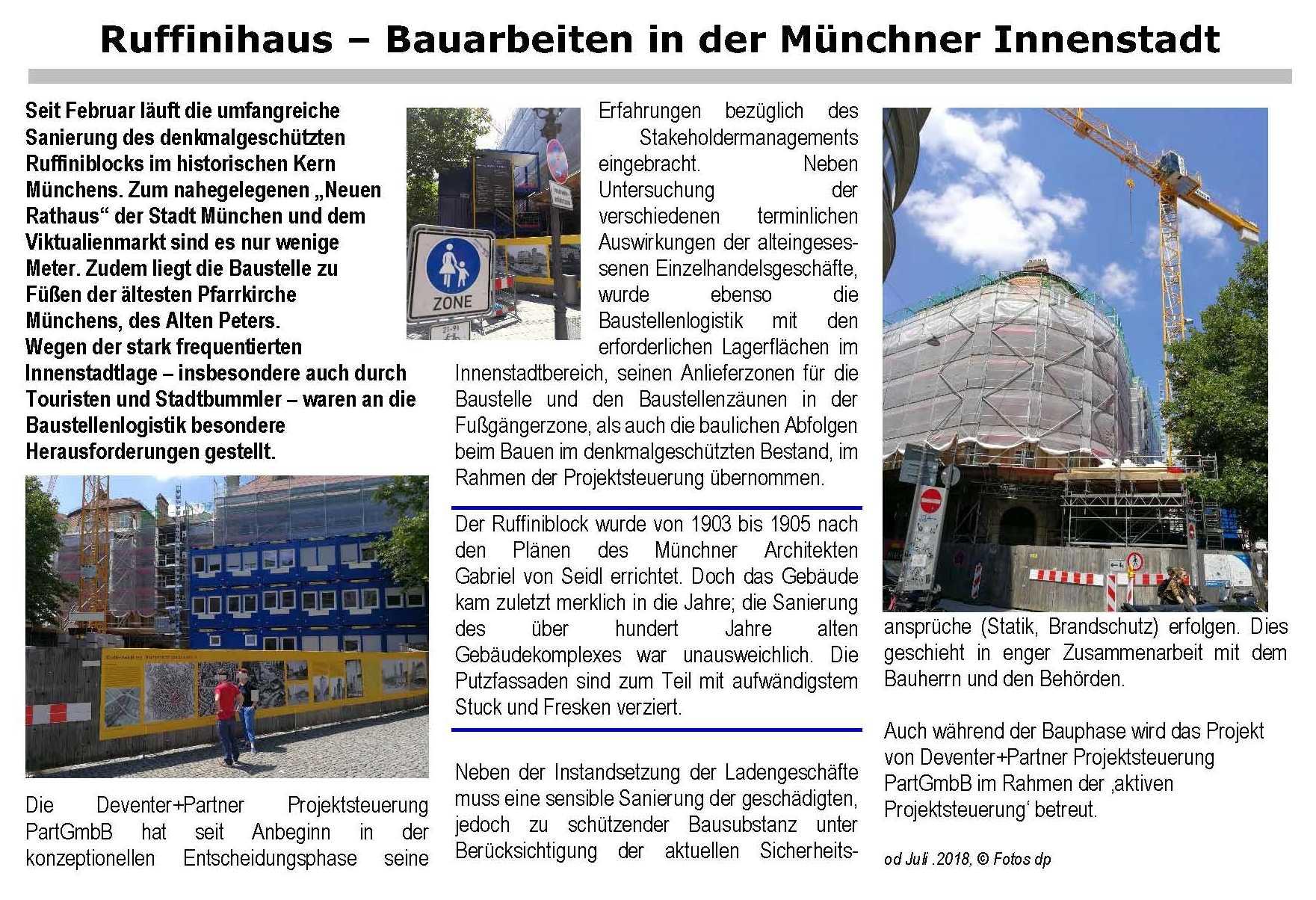 Ruffinihaus – Bauarbeiten in der Münchner Innenstadt
